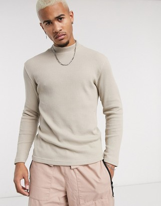 Bershka mock neck sweater in beige