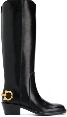 Salvatore Ferragamo Logo Knee-Length Boots