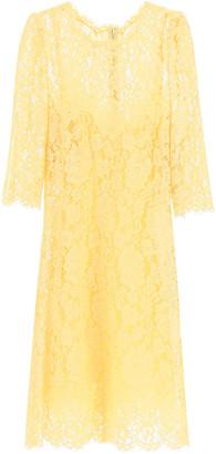 Dolce & Gabbana CORDONETTO LACE MINI DRESS 40 Yellow Cotton