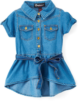 Dollhouse Medium Wash Denim Short-Sleeve Tunic - Girls