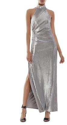 Halston Zenia Mockneck Metallic Gown