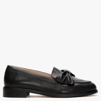 Office Forum Black Leather Bow Loafers