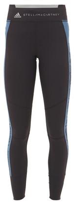 adidas by Stella McCartney Snake-print Panelled Performance Leggings - Womens - Black Blue