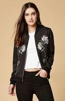 Honey Punch Floral Embroidered Bomber Jacket