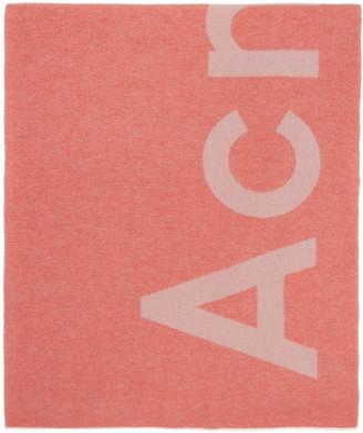 Acne Studios Pink Logo Scarf
