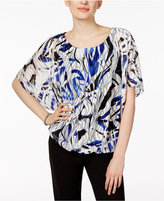 Alfani Petite Printed Textured-Mesh Top, Only at Macy's