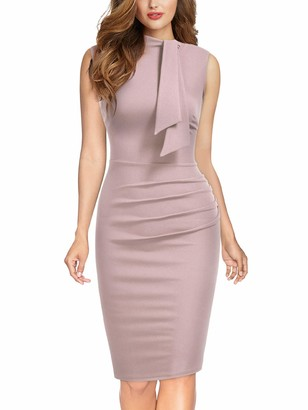MIUSOL Womens Vintage Formal Tie Neck Mock Neck Business Work Bodycon Pencil Dress