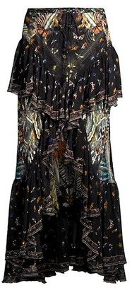 Camilla Mixed Print Silk Frill Skirt