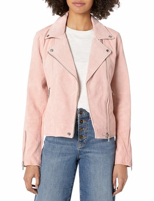 Blank NYC Women's Real Suede Semi Fit Moto Jacket Pink