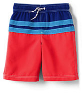 Classic Little Boys Slim Colorblock Stripe Swim Trunks-Brilliant Turquoise