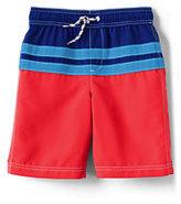 Classic Little Boys Slim Colorblock Stripe Swim Trunks-Deep Sea