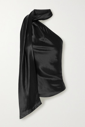 The Range Convertible One-shoulder Satin Top - Black