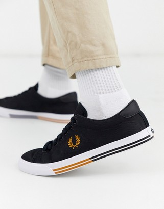 Fred Perry Underspin matt canvas sneakers in black