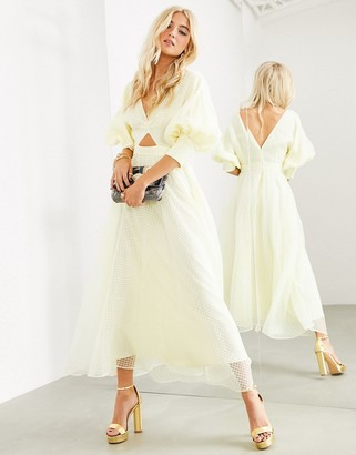 ASOS EDITION blouson sleeve midi dress in organza check