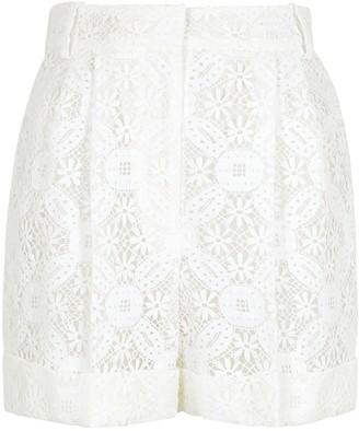 Alexander McQueen White guipure lace shorts