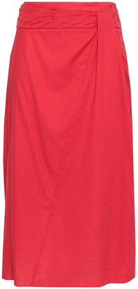 Vince Gathered Cotton Midi Skirt