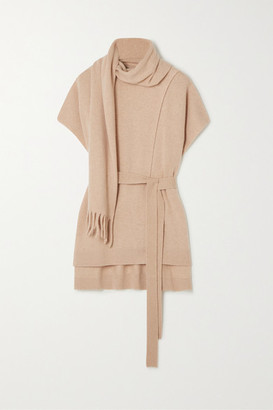 Proenza Schouler Belted Draped Cashmere Sweater - Camel