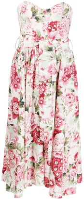 P.A.R.O.S.H. Floral Printed Waist Belt Dress