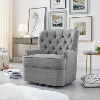Alton Furniture Group Abby Button-Tufted Swivel Armchair, Gray