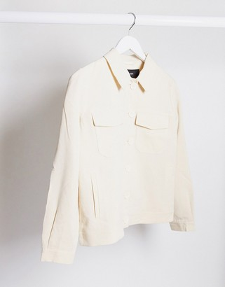 Vero Moda oversized trucker jacket in cream