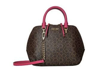 Calvin Klein Hayden Signature Triple Compartment Satchel (Punch) Handbags