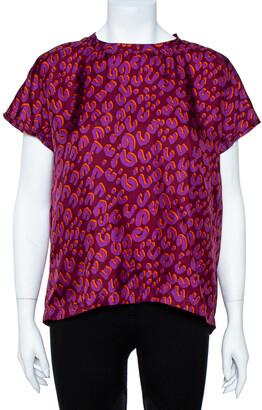 Louis Vuitton Bordeaux Leopard Print Silk Blouse M