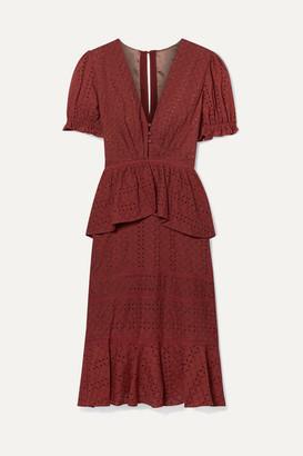 Johanna Ortiz Dandyism Spice Broderie Anglaise Cotton Peplum Dress - Brick