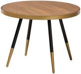 Baxton Studio Darin Walnut Wood & Metal Coffee Table w/ Two-Tone Black & Gold Legs