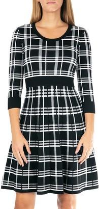 Nina Leonard Women's Plaid Knit Fit & Flair Sweater Dress