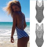 CROSS1946 Sexy Women Stripe Criss Cross Back Bikini One Piece Monokini Bathing Suit Swimwear