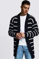 BoohoomanBoohooMAN Mens Navy Oversized Knitted Cardigan With Stripes, Navy