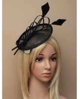Inca Black Fascinator on Headband/ Clip-in for Weddings, Races and Occasions-5893