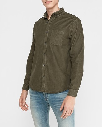 Express Slim Button-Down Corduroy Shirt