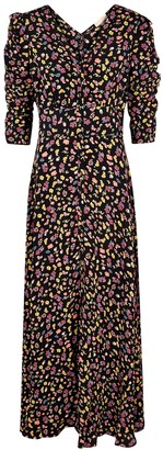 By Ti Mo Black Floral-print Maxi Dress
