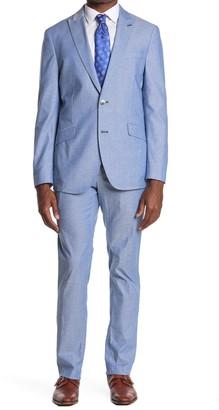 Savile Row Co Blue Slim Fit Chambray Peak Lapel Suit