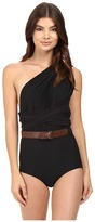 Michael Kors One-Shoulder Shirred Maillot