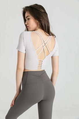 J.ING Opal White Strappy Back Performance Crop
