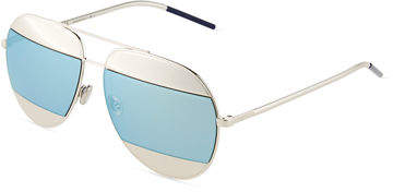 Christian Dior DiorSplit Two-Tone Metallic Aviator Sunglasses