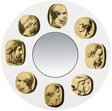 Fornasetti Cammei Round Convex Mirror - Round - Gold/White