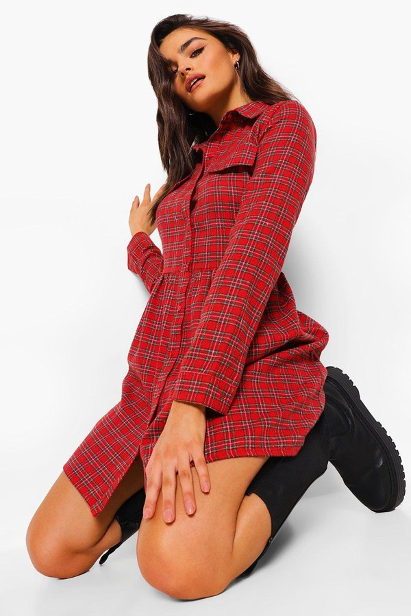 Thumbnail for your product : boohoo Check Pocket Detail Skater Dress