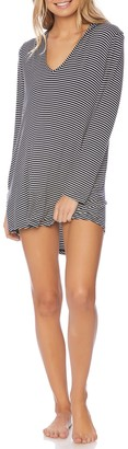 Splendid Soft Sweet Striped Hoodie Cover-Up Tunic