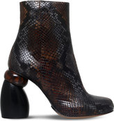 Dries Van Noten Snake-embossed leather ankle boots
