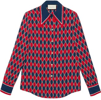 Gucci Rhombus print silk shirt