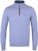 Paul & Shark Carolina Blue Knitted Shark Fit Quarter Zip Sweatshirt