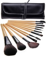 Bliss & Grace 12-Piece Professional Makeup Brush Set with Handy Vegan Leather Travel Case - Wood