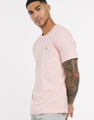 Original Penguin pin point embroidered logo t-shirt in pink