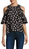 Rebecca Taylor Rosalie Floral Cold-Shoulder Top