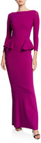 Chiara Boni Bateau-Neck 3/4-Sleeve Peplum Column Gown