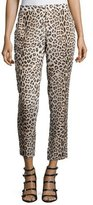 Haute Hippie Leopard-Print Cropped Pants, Buff/Black