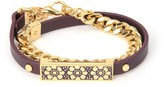 Juicy Couture Lace Enamel Bar Leather Wrap Bracelet